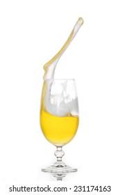 Splashing beer in a glass with little foam