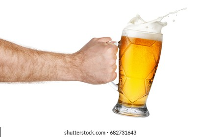 splashing beer in hand isolated on white background. Man making toast