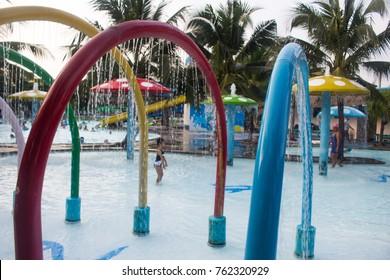splashing fountain in water park