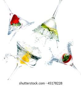 splashing into a martini glass