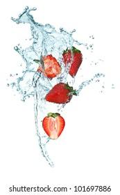 Splashing Strawberry into a water