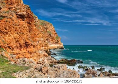 splashing water in coast with rocks