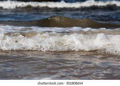 Splashing waves at Baltic coast.