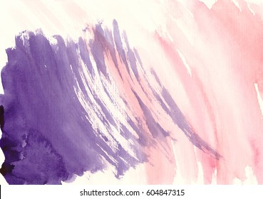 Splatter watercolor colorful pink violet hand drawn paper grain texture banner for design. Abstract watercolor wet brush paint aquarelle drops background for template, wallpaper, card, print