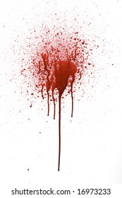 Splattered blood pattern with drips isolated on a white background