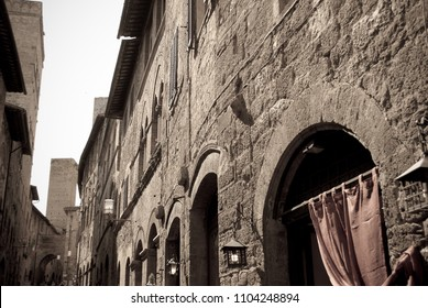 The splendid architecture of the town of San Gimignano in the heart of Tuscany