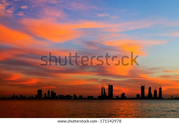 Splendid cloud and the Bahrain sunset, HDR photograph