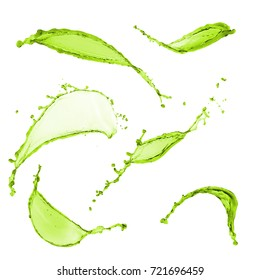 Splendid collection of splashes green color on white background