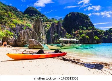 Splendid exotic nature of El nido, Palawan island, Philippines. Island hopping Boat trip