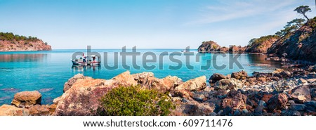 Splendid Mediterranean seascape in Turkey. Panorama of a small azure bay near the Tekirova village, District of Kemer, Antalya Province. Beauty of nature concept background.