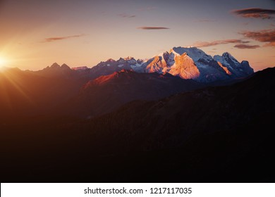 Splendid morning sun illuminates the peaks. Location place pass di Giau, Dolomiti Alps, Cortina d'Ampezzo, South Tyrol, Italy, Europe. Scenic image of tourist attraction. Discover the beauty of earth.