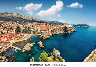 Splendid morning view of famous Fort Bokar in city of Dubrovnik. Sunny summer seascape of Adriatic sea, Croatia, Europe. Beautiful world of Mediterranean countries. Traveling concept background.
