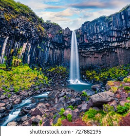 Splendid morning view of famous Svartifoss (Black Fall) Waterfall. Colorful summer scene in Skaftafell, Vatnajokull National Park, Iceland, Europe. Beauty of nature concept background.