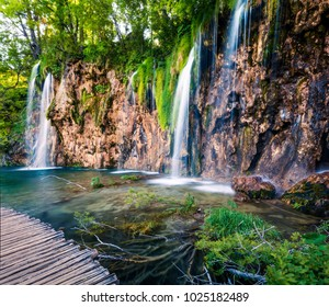 Splendid morning view of Plitvice National Park. Colorful spring scene of green forest with pure water waterfall. Green countryside landscape of Croatia, Europe. Beauty of nature concept background.