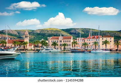 Splendid summer cityscape of Trogir town. Sunny morning seascape of Adriatic sea. Beautiful world of Mediterranean countries. Traveling concept background.
