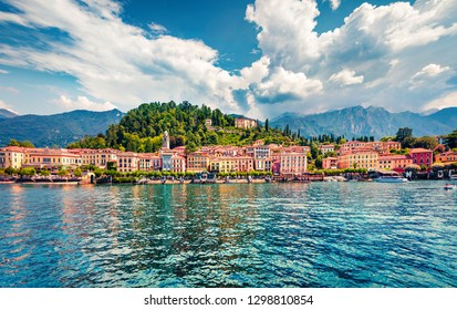 Splendid summer view from ferry boat of Bellagio town. Colorful morning scene of Como lake, Italy, Europe. Traveling concept background.
