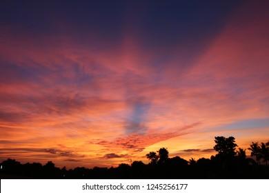 A splendid sunset seen from the island of Viti Levu, Fiji