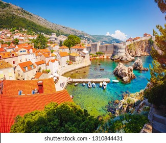 Splendid view at famous european city of Dubrovnik on a sunny day. Location place Croatia, South Dalmatia, Europe. Mediterranean resort, UNESCO world heritage site. Discover the beauty of earth.