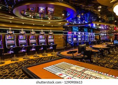 Splendida cruise vessel - Jan 20, 2019: Casino interior on Splendida cruise liner.