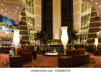 Splendida cruise vessel - Jan 20, 2019: Atrium interior on Splendida cruise liner