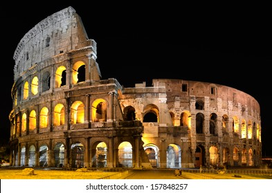 The splendor of the Colosseum in Rome at night