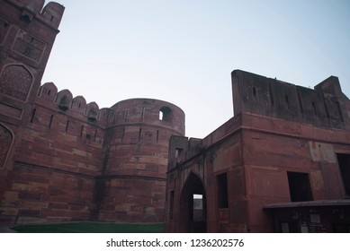 Splendor of mughal architecture of Agra Fort also called as the Red Fort with high thick strong walls made of red stones and arches doors and windows and once a residence of the Mughal Dynasty