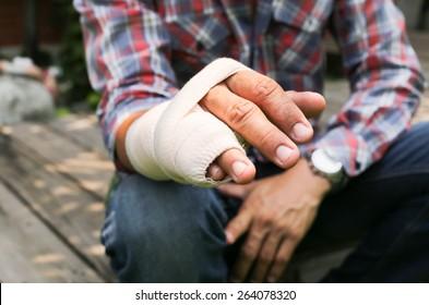 Splint broken bone  hand Injured in blur background