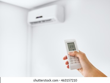 Split air conditioner on a white wall.