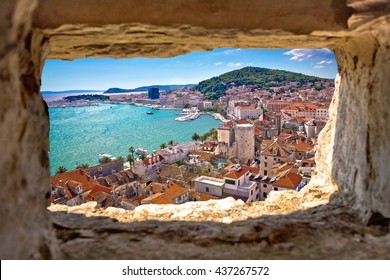 Split  bay aerial view through stone window, Dalmatia, Croatia