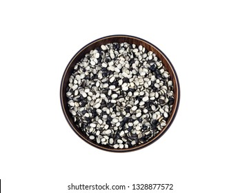 Split Black Lentil Also Know as Black Gram, Black Urad Dal, Vigna Mungo, Urad Bean, Urad Dal, Minapa Pappu, Mungo Bean or Black Matpe Bean Isolated on White Background