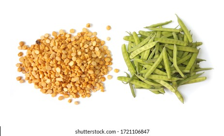 Split Chickpeas & Cluster Beans Vegetable Isolated on White Background