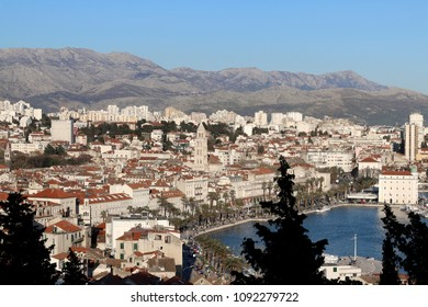 Split city centre illuminated by sunlight. Split is popular touristic destination and UNESCO World Heritage Site.