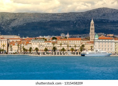 Split cityscape with harbour and downtown in croatia. Skyline view while arriving with ferry