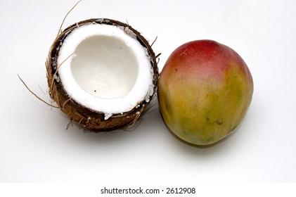 split coconut and mango