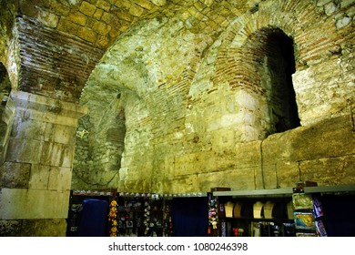 SPLIT, CROATIA - APR 15, 2018 - Arches and barrel vaulting of cellars of Roman Emperor Diocletian's Palace, Split, Croatia