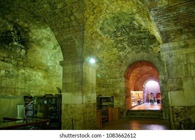SPLIT, CROATIA - APR 15, 2018 - Arches and barrel vaulting of cellars of Roman Emperor Diocletian's Palace, Split, Croatia