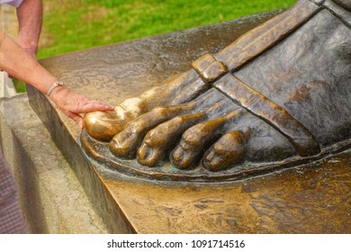 SPLIT, CROATIA - APR 15, 2018 - Grgur Ninski big toe rubbed shiny by superstitious visitors,Split, Croatia