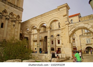 SPLIT, CROATIA - APR 15, 2018 -  Acanthus Corinthian capitals on limesttone pilasters in Peristyle courtyard of Diocletian's Palace, Split, Croatia