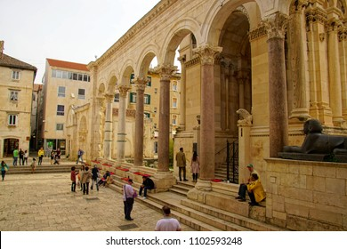 SPLIT, CROATIA - APR 15, 2018 -  Corinthian capitals on Egyptian granite columns of Peristyle courtyard of Diocletian's Palace, Split, Croatia