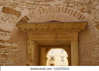 SPLIT, CROATIA - APR 15, 2018 - Roman brick arch in rotunda vestibule of Diocletian's Palace, Split, Croatia