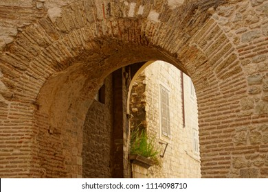 SPLIT, CROATIA - APR 15, 2018 - Roman brick arch in rotunda vestibule of Diocletian's Palace, Split, Croatia