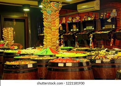 SPLIT, CROATIA - APR 15, 2018 - Colorful displays in candy store in Split, Croatia