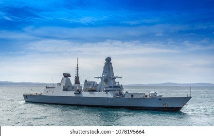 SPLIT, CROATIA - APRIL 10, 2018: HMS Duncan (D37) a Type 45 Air Defence Destroyer departing Split
