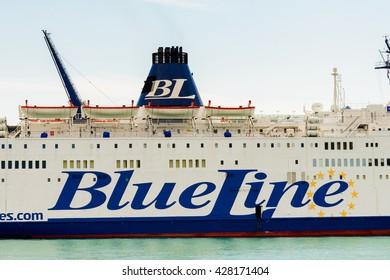 SPLIT, CROATIA - AUG 22, 2014: Cruiser of the Blue Line company in Split, Croatia. Blue Line International is a ferry company owned by the Croatia-based SEM Maritime Company (SMC)