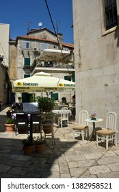 Split, Croatia - August 11, 2018 : outdoor caffè with furnitures in old town of Split
