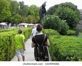 SPLIT, CROATIA - AUGUST 20, 2016: Gregory of Nin was a medieval Croatian bishop who strongly opposed the Pope and its statue is certainly one of the main attraction of the city of Split, Croatia.