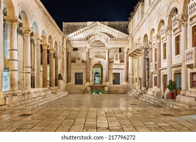 SPLIT, CROATIA - AUGUST 4: Diocletian's Palace on August 4, 2014 in Split. View of the peristyle of Diocletian's Palace in Split at night, an ancient palace built by the Roman emperor Diocletian