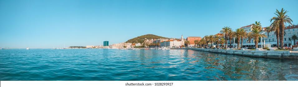 SPLIT, CROATIA - JULY 11, 2017: Beautiful bay with promenade of Split city - Dalmatia, Croatia