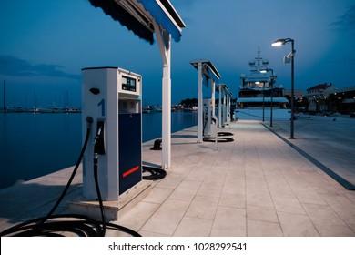 SPLIT, CROATIA - JULY 12, 2017: Port gas station at early morning ready to tank boats - Split, Croatia