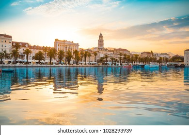SPLIT, CROATIA - JULY 12, 2017: Beautiful view of Split city at sunrise from the side of sea - Croatia